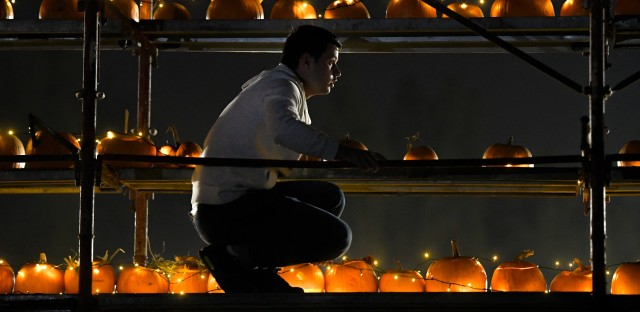A staff member arranges carved pumpkins on a scaffolding at The Halloween Pumpkin Fest in Bucharest, Romania.