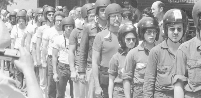 Members of the Jewish Defense League donned helmets as they arrived in Skokie, Ill. on July 4, 1977 to demonstrate against the Nazis, who called off their march when they failed to get a permit.