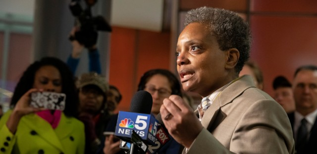 Lori Lightfoot speaks at an April 2019 press conference. On Thursday, Lightfoot said her administration failed in how it rolled out sites for a proposed casino in Chicago.