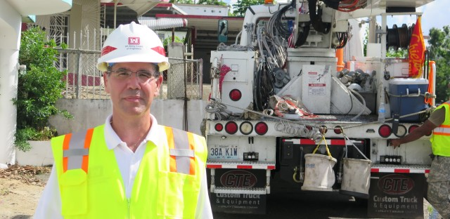 """José Sánchez, who heads the Army Corps of Engineers efforts to restore the power grid in Puerto Rico, says the repair work is slowest is in the southeastern part of the island where Hurricane Maria made landfall. That's because of topography and limited materials, he says. """"Demand is high and everything comes from the mainland."""""""