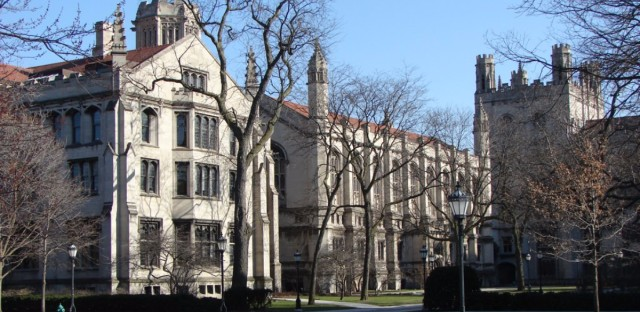 The main quadrangle at the University of Chicago.
