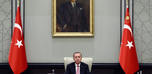 Turkey's President Recep Tayyip Erdogan heads an emergency meeting of the National Security Council in Ankara, Turkey, Wednesday, July 20, 2016.  (Kayhan Ozer/Pool via AP)