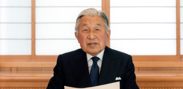 In this photo taken Sunday, Aug. 7, 2016 and provided by the Imperial Household Agency of Japan on Monday, Aug. 8, 2016, Japan's Emperor Akihito reads a message for recording at the Imperial Palace in Tokyo. Akihito expressed concern about fulfilling his duties as he ages in an address to the public in a 10-minute recorded speech broadcast on national television Monday that was remarkable for its rarity and its hinted possibility that he may want to abdicate in a few years.
