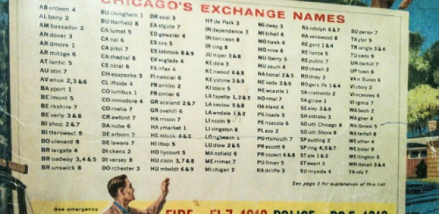 A Chicago phone book cover shows exchange names.