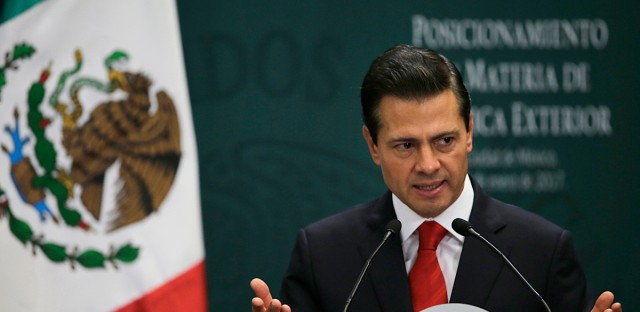 Mexico's President Enrique Pena Nieto speaks during a press conference at Los Pinos presidential residence in Mexico City on Monday. Pena Nieto confirmed on Twitter that he will not attend a planned meeting with President Donald Trump.