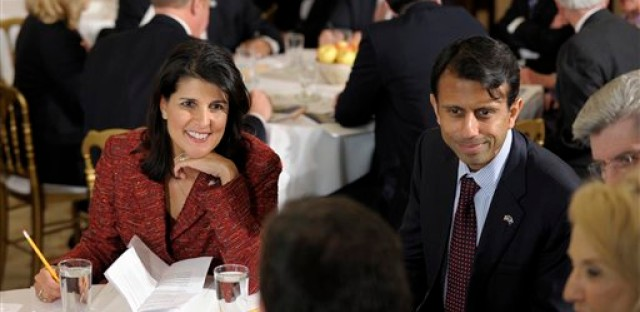 South Carolina Gov. Nikki Haley, left, and Louisiana Gov. Bobby Jindal at a meeting of the National Governors Association in February.