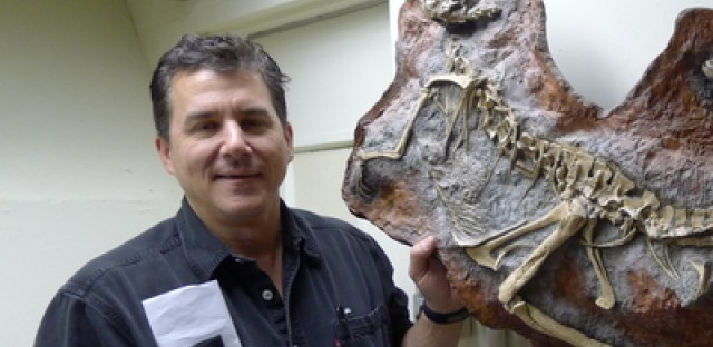 Paleontologist Paul Sereno in his fossil lab at the University of Chicago.