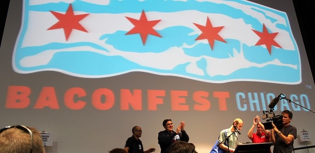 Baconfest Chicago 2013 bacon poetry reading by contest winner Steve Nordin