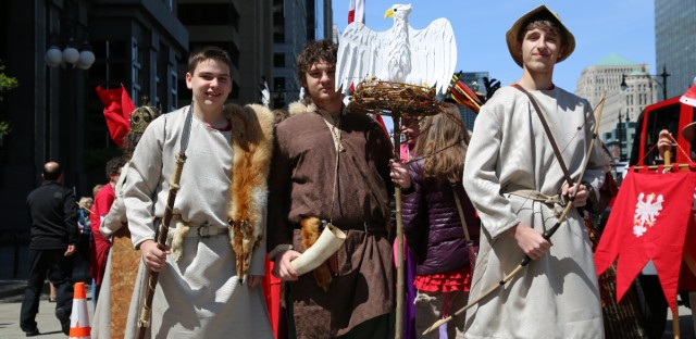 Peter Sniezko, Eryk Markiewicz, and Michael Jarosz are dressed up as Czech, Lech, and Rus, the three mythical brothers who founded the Czech, Polish, and Rus peoples.
