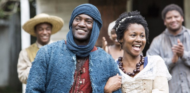 Malachi Kirby and Emayatzy Corinealdi in the new production of Roots.
