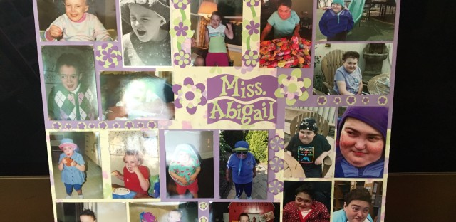 Abigail's classmates made a collage of her that hangs in the Spellmans' living room