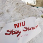 Flowers, candles, and small notes sit in the snow Friday, Feb. 15, 2008, on the campus of Northern Illinois University near Cole Hall, the scene where a lone gunman shot and killed six Thursday on the NIU in DeKalb, Ill.
