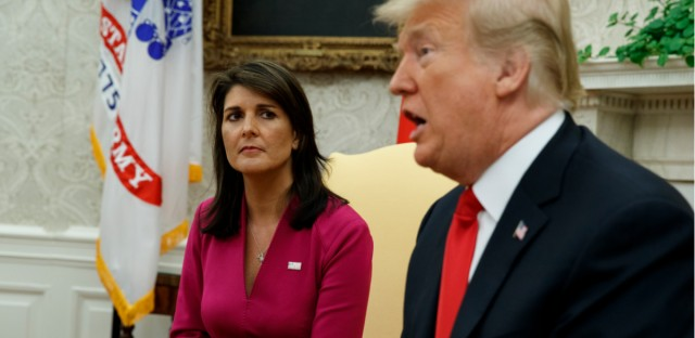 President Donald Trump speaks during a meeting with outgoing U.S. Ambassador to the United Nations Nikki Haley in the Oval Office of the White House, Tuesday, Oct. 9, 2018, in Washington.