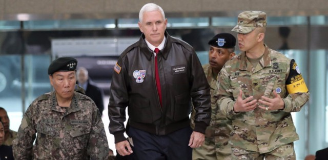 U.S. Vice President Mike Pence arrived Monday at the South Korean border village of Panmunjom in the Demilitarized Zone, which has separated the two Koreas since the Korean War.