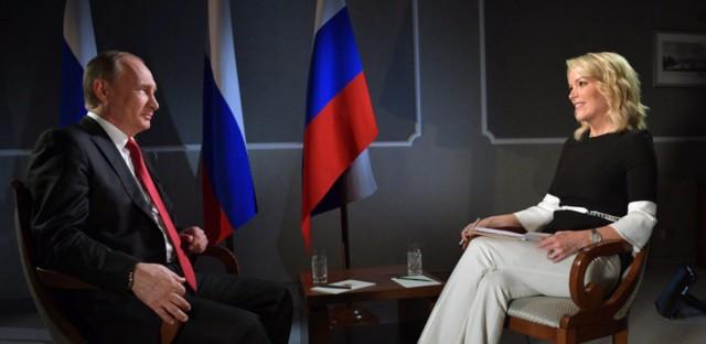 Russian President Vladimir Putin speaks with Megyn Kelly in the debut broadcast of NBC News' Sunday Night with Megyn Kelly. Kelly interviewed Putin in St. Petersburg, Russia.