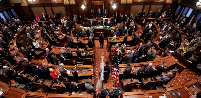 The Illinois Senate chamber in Springfield, Ill., is shown in 2015. Republicans are showcasing a state abortion rights package in dozens of congressional districts that are expected to determine control of the U.S. House next year.