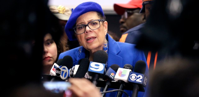 Chicago Teachers Union president Karen Lewis speaks at a news conference in Chicago on March 23, 2016.