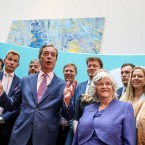 Brexit Party leader Nigel Farage, center left, speaks to the media at an event to mark the gains his party made in the European Elections, in London, Monday, May 27, 2019. In results announced Monday for all regions of the U.K. except Northern Ireland, the Brexit Party had won 29 of the 73 British EU seats up for grabs and almost a third of the votes. At second right is Brexit Party MEP and former Conservative lawmaker Anne Widdecombe.