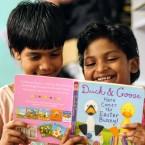 Children with book