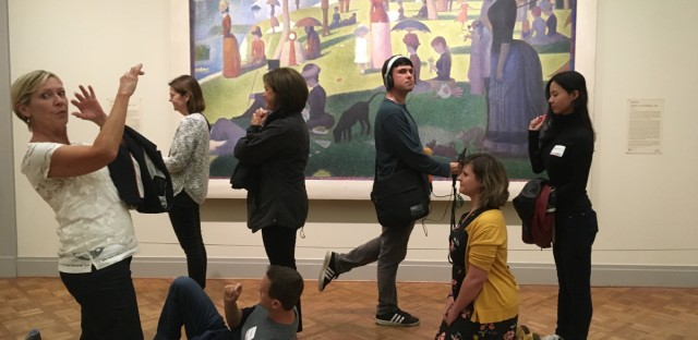 Museum Hack tours often involve interactive games. At the Art Institute, this can include posing as characters from Georges Seurat's Sunday at La Grande Jatte.