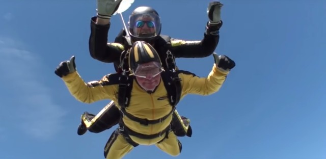 Bryson William Verdun Hayes makes a tandem skydive at the age of 101.