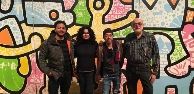 Anthony Lewellen, Sandra Antongiorgi, and Eddie Alvarado worked with famed artist Keith Haring on a student mural project in 1989, organized by former high school teach Irving Zucker (right).