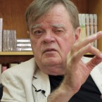 "Garrison Keillor, creator and former host of ""A Prairie Home Companion,"" talks at his St. Paul, Minn., office in July."