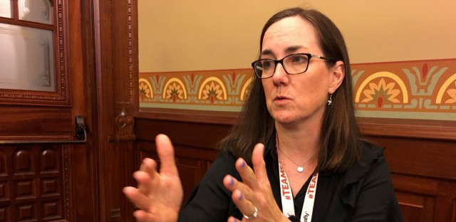 "Illinois state Rep. Kelly Cassidy, shown here in 2018, is the House sponsor for the Reproductive Health Care Act. She said on the floor Tuesday that the bill solidifies a woman's right to ""self determination"" in making their own health care decisions."