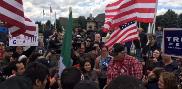 A mix of Donald Trump supporters and protesters stood outside the Bolingbrook Golf Club as the presidential candidate visited for a fundraiser.