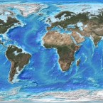 An artist's rendition of the Earth as it would appear should the Greenland and Antarctic ice sheets melt