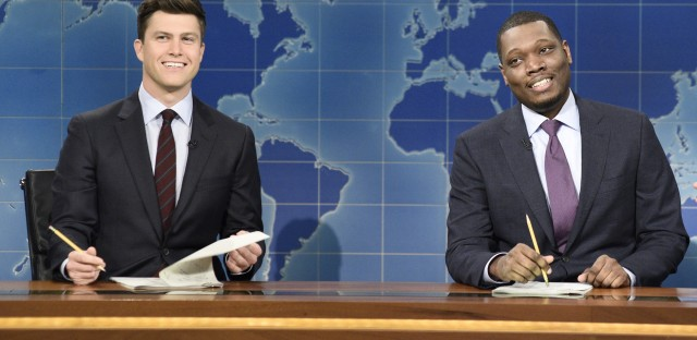 Colin Jost (left) and Michael Che ripped into Al Franken during the Weekend Update portion of Saturday Night Live.