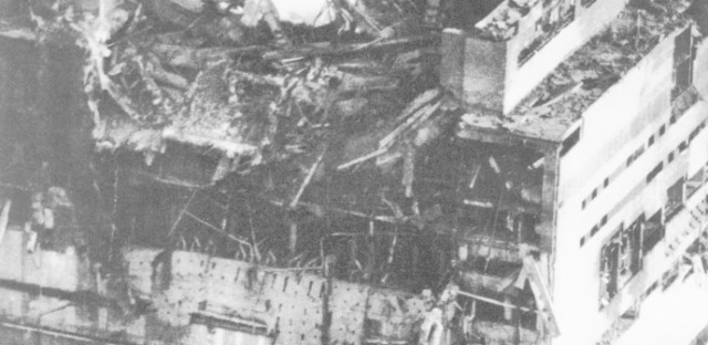 The destroyed Chernobyl nuclear power plant, shown just hours after the April 26, 1986 explosion.