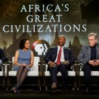 "Henry Louis Gates Jr., from left, Cecile Fromont, Emmanuel Akyeampong, and Christopher Ehret speak at the PBS's ""Africa's Great Civilizations"" panel at the 2017 Television Critics Association press tour on Sunday, Jan. 15, 2017, in Pasadena, Calif. (Photo by Willy Sanjuan/Invision/AP)"