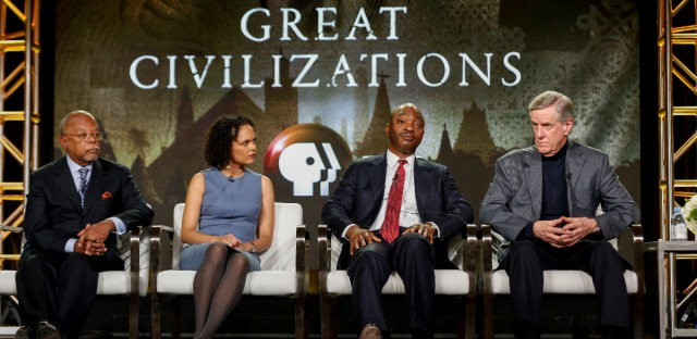 """Henry Louis Gates Jr., from left, Cecile Fromont, Emmanuel Akyeampong, and Christopher Ehret speak at the PBS's """"Africa's Great Civilizations"""" panel at the 2017 Television Critics Association press tour on Sunday, Jan. 15, 2017, in Pasadena, Calif."""