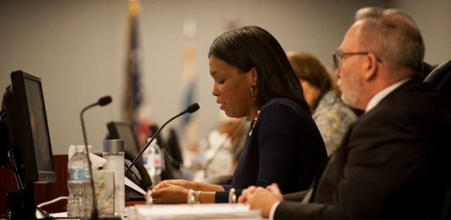 Chicago Public Schools CEO Janice Jackson responds to allegations of sexual abuse against students at a Chicago Board of Education meeting on June 27, 2018.