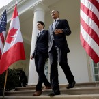 President Obama and Canadian Prime Minister Justin Trudeau walk from the Oval Office to a joint press conference in the Rose Garden of the White House on Thursday. Chip Somodevilla/Getty Images