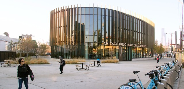 The Chinatown branch of the Chicago Public Library. which has won awards for its architecture.