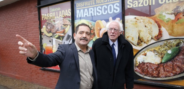 Cook County Commissioner Chuy Garcia, left, seen here in this 2015 file photo with Sen. Bernie Sanders, I-Vt., has declared victory in the Democratic primary for retiring U.S. Rep. Luis Gutierrez's Congressional seat.