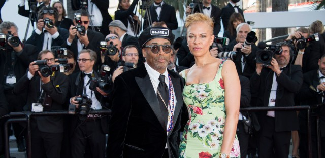 Director Spike Lee, left, poses with his wife Tonya Lewis Lee at the closing ceremony of the 71st international film festival, Cannes, southern France, Saturday, May 19, 2018.