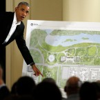 Former President Barack Obama speaks at a community event on the Presidential Center in Chicago in 2017. On Tuesday, a federal judge in Chicago dismissed a lawsuit that was seeking to stop the center from being built in a lakefront park.