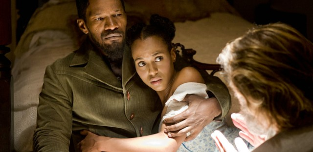 In Quentin Tarantino's 'Django Unchained,' freed slave Django, played by Jamie Fox, struggles to reunite with his wife, Broomhilda, played by Kerry Washington.