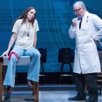 "The play Roe shows Norma McCorvey, aka ""Jane Roe,"" (Sarah Bruner) pleading with her doctor (Richard Elmore) to give her an abortion."
