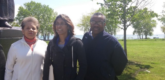 Yvetto Moyo, Amalia NietoGomez, members of Coalition for a Lakeside Community Benefits Agreement, stand on the site of the former steel mill. The Southeast Side redevelopment project will be larger in size than the Loop.