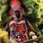 """Mardi Gras Indians celebrate the annual """"Super Sunday"""" event held annually on the Sunday closest to St. Joseph's Day in New Orleans."""