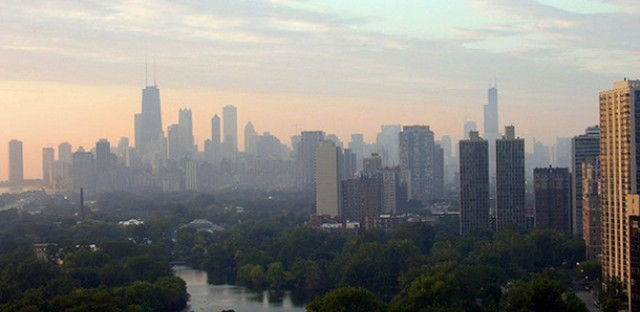 A hazy Chicago skyline.