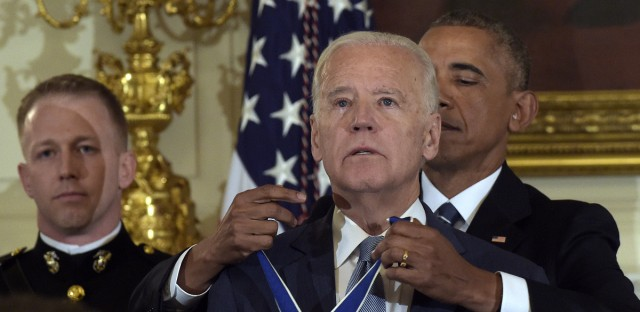 President Obama presents a teary-eyed Vice President Biden with the Presidential Medal of Freedom at the White House on Thursday.