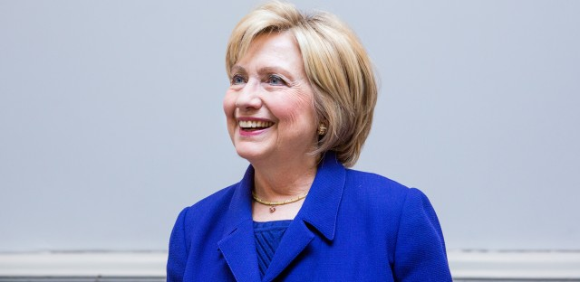 Hillary Clinton stands for a portrait in San Antonio.