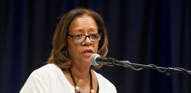 In this Aug. 21, 2013 file photo, then-Chicago Public Schools CEO Barbara Byrd-Bennett speaks at Chicago State University.