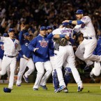 Chicago Cubs players celebrate