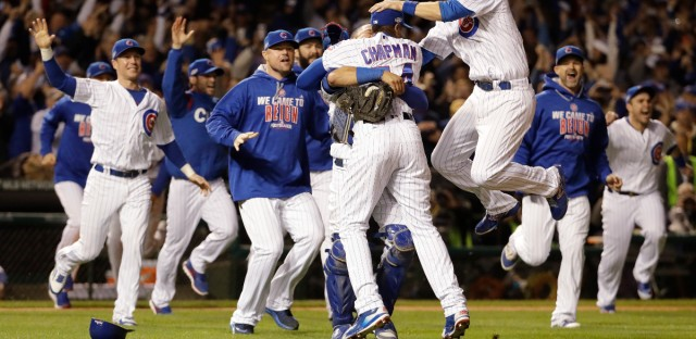 Chicago Cubs players celebrate after Game 6 of the National League baseball championship series against the Los Angeles Dodgers, Saturday, Oct. 22, 2016, in Chicago. The Cubs won 5-0 to win the series and advance to the World Series against the Cleveland Indians.